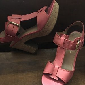Chunky cork bottom Franco Sarto leather sandals 8M